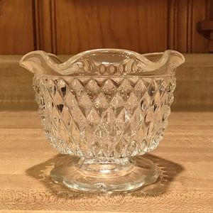 Vintage Diamond Cut Glass Sugar Bowl